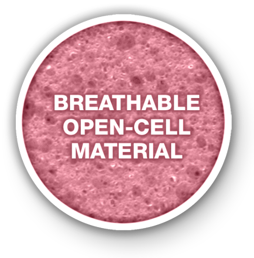 Breathable open-cell material